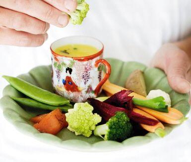 Recept: Smördopp med mandelpotatis, fisk och grönsaker
