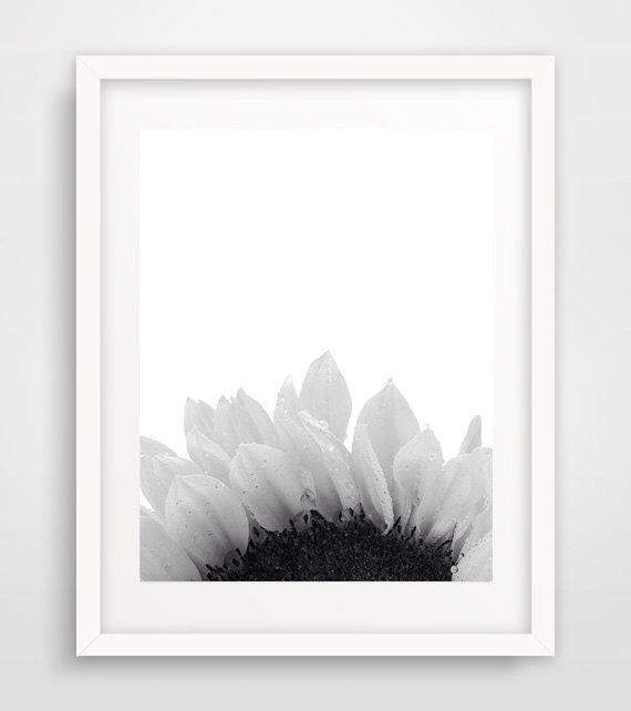 Sunflower Wall Print, Sunflower Poster, Minimalist Art, Black White, Floral Poster, Modern Wall Print, Scandinavian decor by Ikonolexi on Etsy https://www.etsy.com/listing/252785588/sunflower-wall-print-sunflower-poster