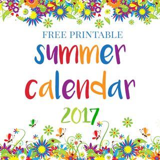 free printable ~ Summer Calendar 2017