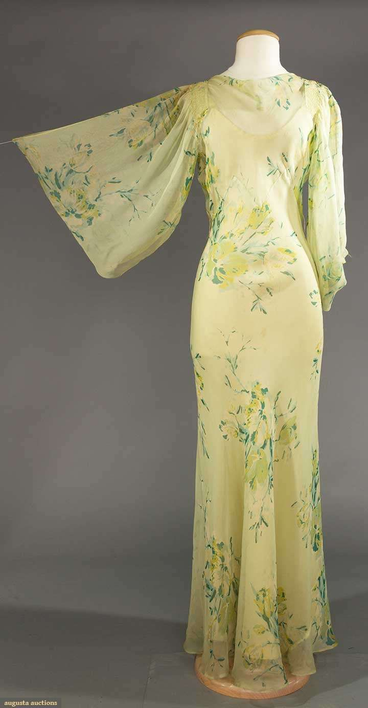 "FOUR EVENING GARMENTS, 1930s |  May 9, 2017 Sturbridge, Massachusetts | Green printed chiffon, bias cut, green silk crepe slip, B 32"", W to 26"", H to 36"", L 57"""