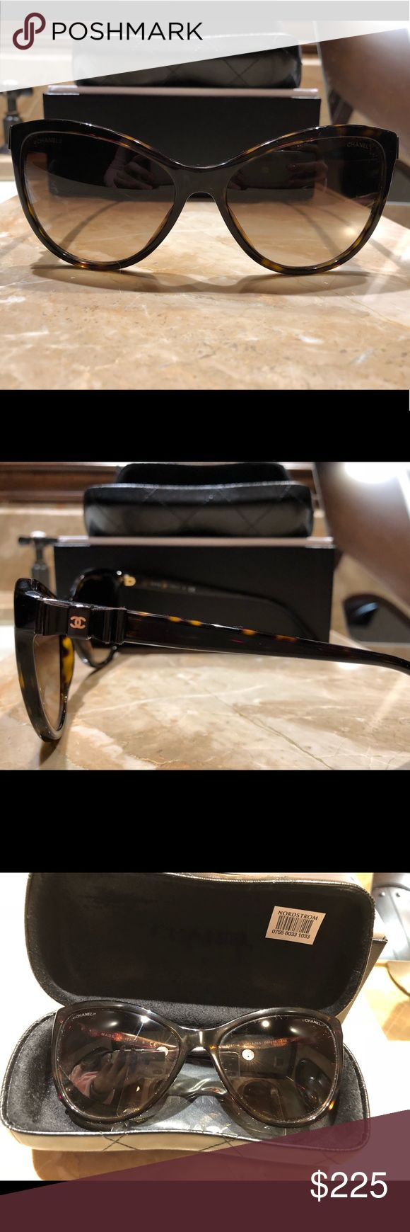 Chanel Cat Eye Sunglasses 100% Authentic Chanel sunglasses purchased at Nordstrom. In perfect condition with glasses case, lens cleaner and box.   Tortoise Color. Style #5281q CHANEL Accessories Sunglasses
