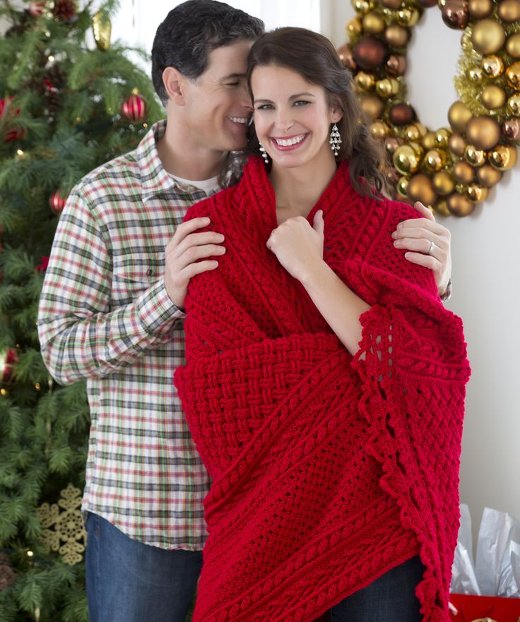 Holiday Cables Throw Crochet Pattern by Red Heart yarns  #Christmas