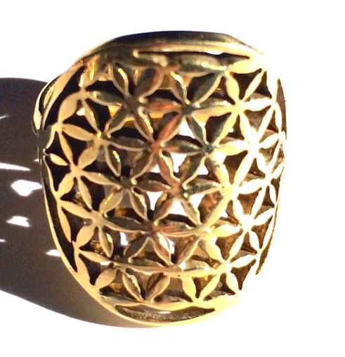This beautifully crafted Brass Flower Of Life Sacred Geometry Ring is easily adjusted to fit most adult finger sizes. 💫<>$35<> with 20% storewide savings online ~heartmala.com~ ✨✨✨✨✨✨✨✨The Flower of Life is an ancient symbol & can be found in many religions & cultures of the world & one of the oldest sacred symbols known to man. The oldest being found in Egypt at the Temple of Osiris which is at least 6000 years old.
