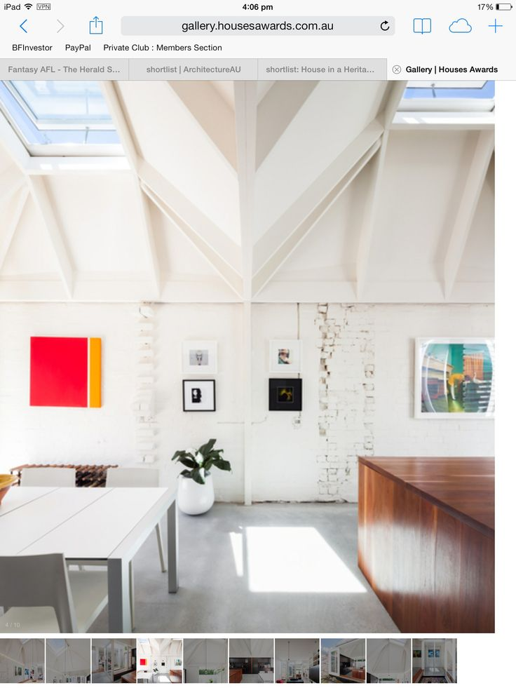 White brick, painted timber and concrete
