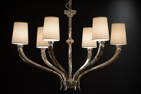 C10:2462PN Rouleau Large Chandelier in Polished Nickel and Shades