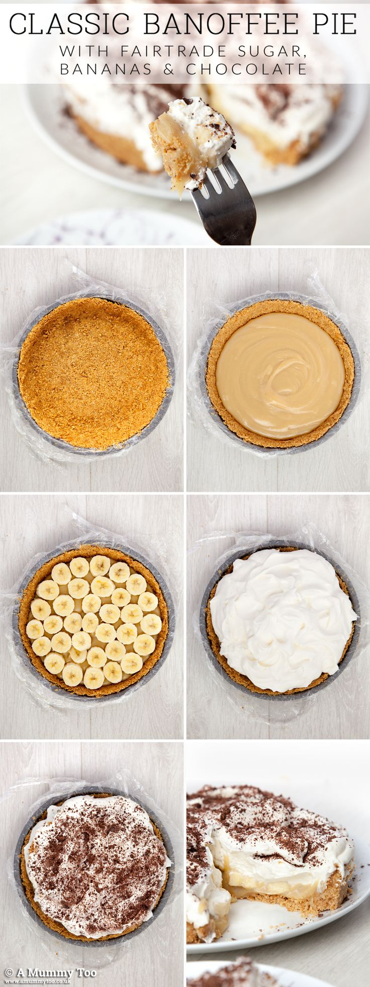 Step-by-step guide to making sweet and fresh banoffee pie, generously topped with whipped cream!