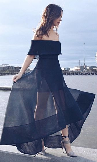 Always Chic Black Organza Off The Shoulder Cut Out Back High Low Asymmetric Maxi Dress