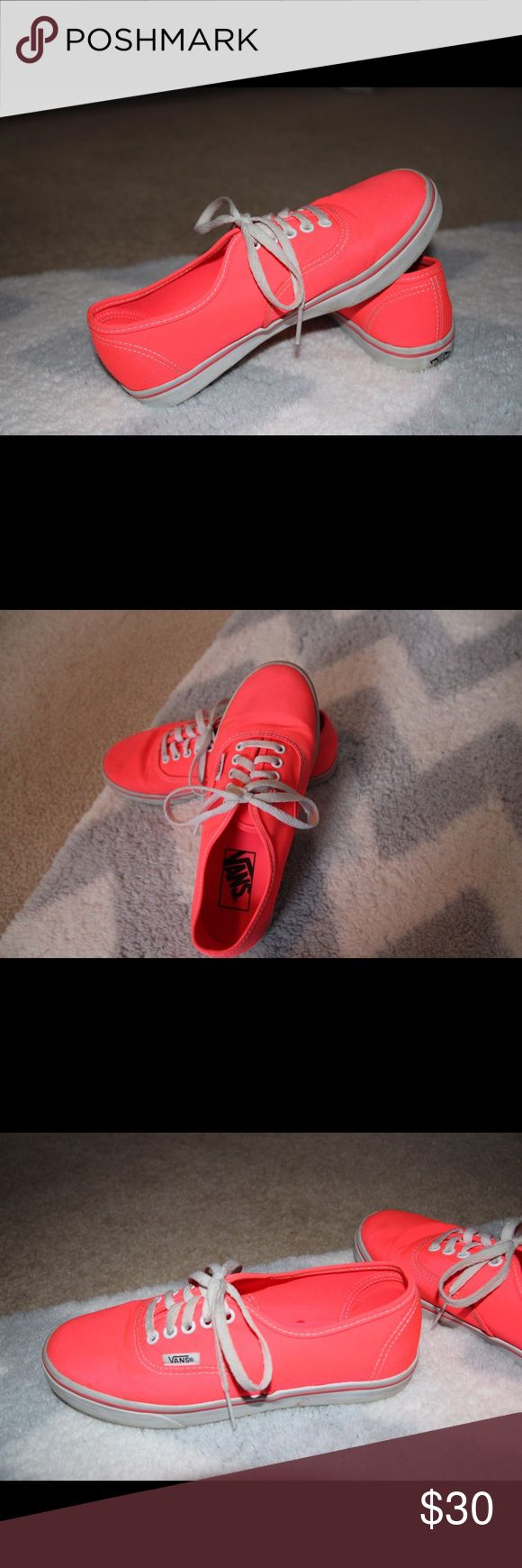 Coral Vans These look brand new. Only were worn a couple times. Very bright. Women's size 5.5 men's size 4. Willing to take reasonable offers Vans Shoes Sneakers