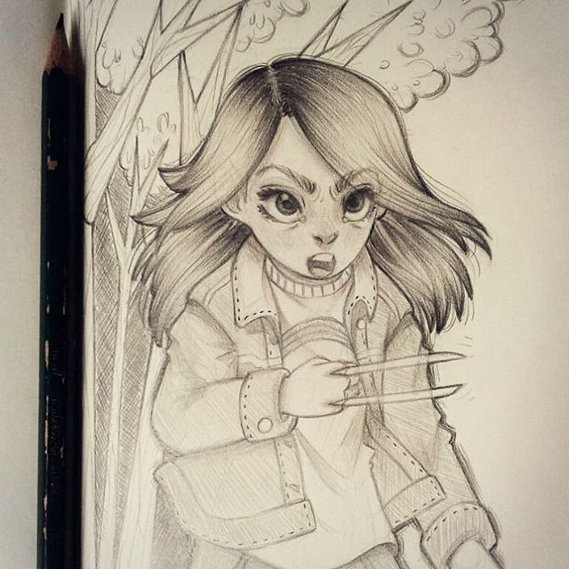 Strong girl   I loved Laura from Logan movie ♡ she's so brave! (it was very cool to draw an angry character, i don't do that very often! ) #logan #movie #laurakinney #fanart #marvel #character #girlpower #dafnekeen #strong #pretty #girl #drawing #sketchbook #pencil