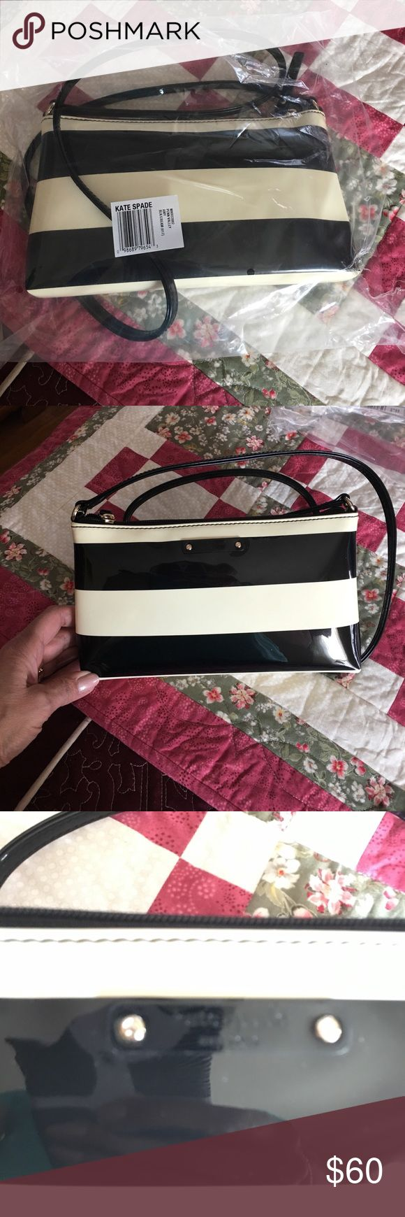 Brand New!  KS Crossbody bag New bag never used.  Crossbody in striped patent PVC . Front printed kate spade new york license plate Zip closure. Lined interior. 6''h x 10''w x 1.5''d drop length: 18''.   Price firm unless purchased in a bundle. Thank you.  Not trading. kate spade Bags Crossbody Bags