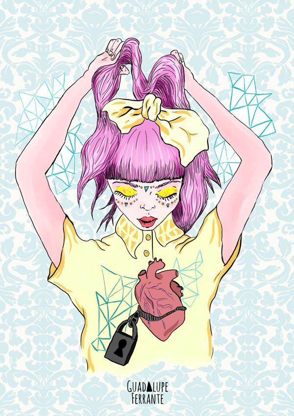 Miedo 1 Illustration by Guadalupe Ferrante, via Behance  // pink / hair / crazy hair / lovely girl / broken heart /