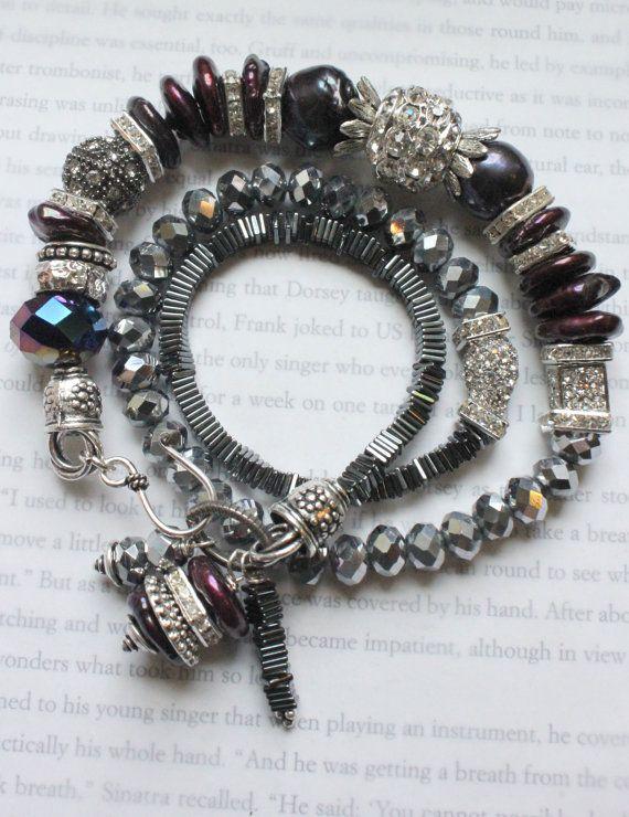 chunky bracelet multi strand wrap bracelet hematite