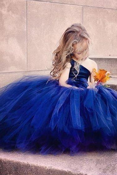 Flower Girl Prom Dress,Dark Blue Tulle Prom Dress,Fashion Bridesmaid Dress,Sexy Party Dress, Custom Made Evening Dress