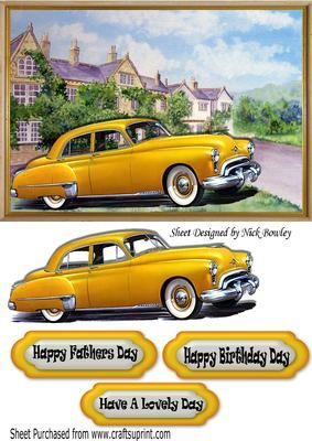 1949 Yellow oldsmobile vintage car in frame with mansion on Craftsuprint - Add To Basket!