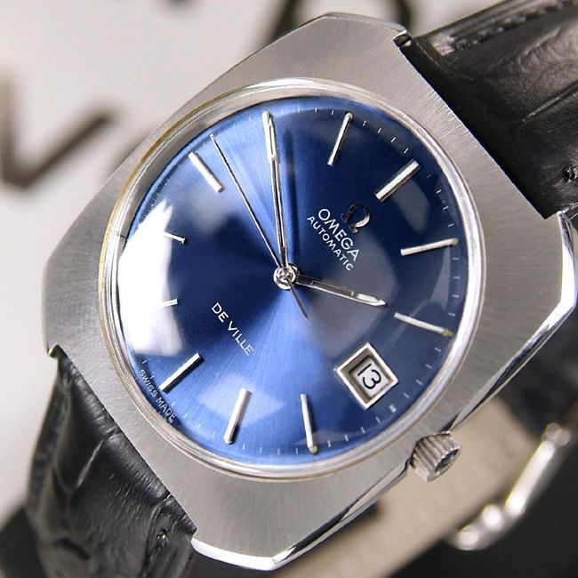 OMEGA DE VILLE AUTOMATIC DATE BLUE DIAL AUTHENTIC SWISS RARE VINTAGE MEN'S WATCH #Omega #LuxuryDressStyles