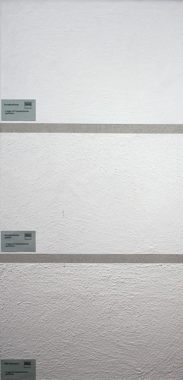 Ein optischer Vergleich von Sumpfkalkfarbe und Kalkputz
