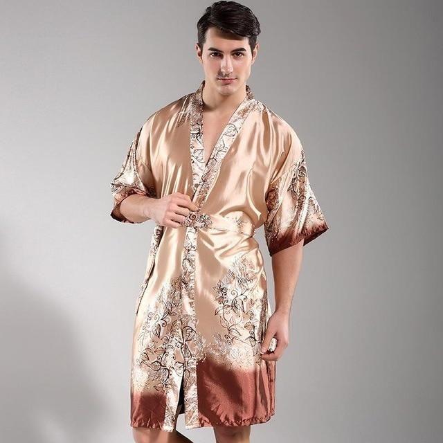 Mens V Neck Silk Satin Home Kimono Bathrobe Pajamas Nightgown Robe Sleepwear