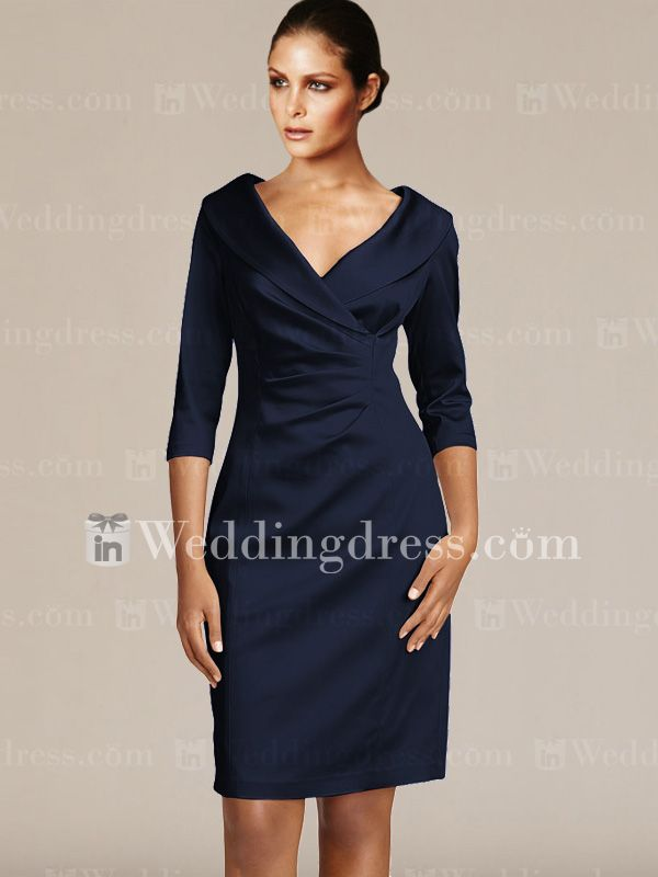 short v neck groom mother dresses with sleeves mo192