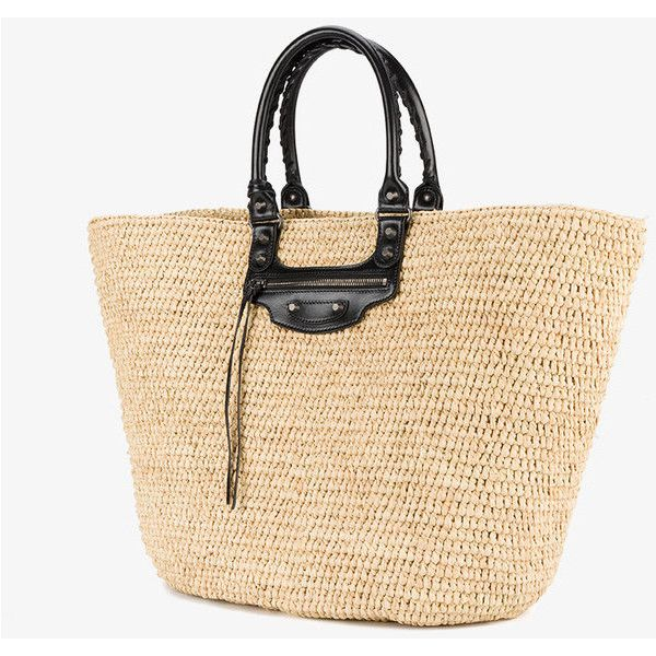 Balenciaga large Panier tote bag (1,210 CAD) ❤ liked on Polyvore featuring bags, handbags, tote bags, beach handbags, beige tote, beach tote bags, handbags totes and handbags tote bags