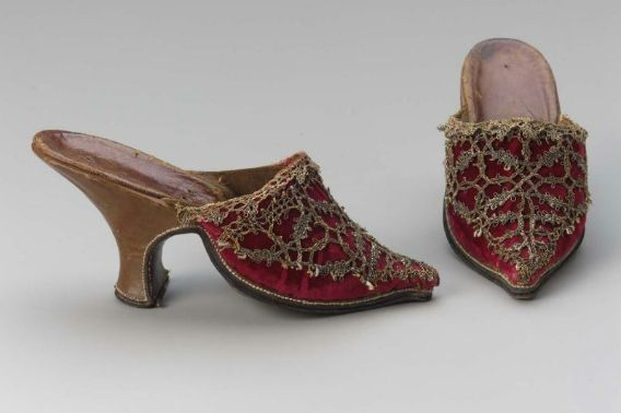 Pair of women's mules, 1720-1740.  Like the lace that is custom fitted over the toe section.