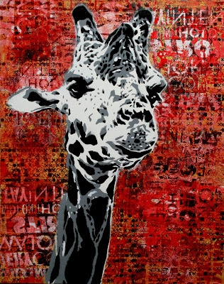 Giraffe Stencil Art  Stencil art has the edge I'm talking about.  It tends to have harder lines and starker contrast