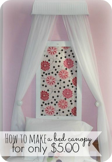 I was having a hard time finding an affordable bed canopy for my daughters bedroom.  So I decided to make one myself and for just $5.00 you can make this homemade bed canopy!  You will never guess what I made it out of - head on over and take a look!