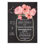 Mason Jar Flowers Chalkboard Baby Shower Card
