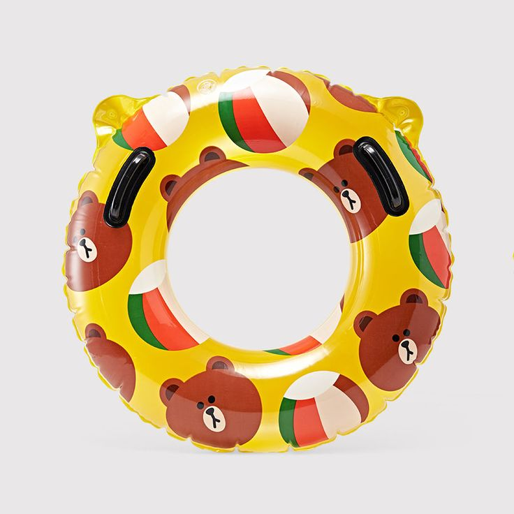 LINE FRIENDS BROWN Bear Float Inflatable Swimming Pool Tube Raft with Handles #LINEPLUS