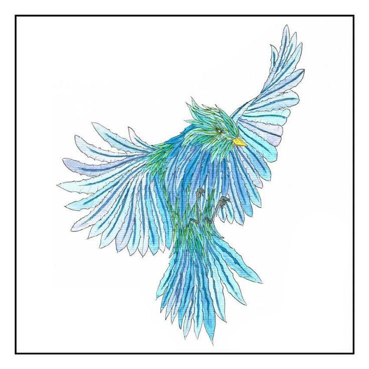 Colvert bleu dans les airs