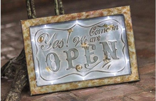 Our vintage inspired open sign is an LED sign with tons of antique charm. Use this sign in any space or in your businesses. For more visit, www.decorsteals.com OR www.facebook.com/decorsteals