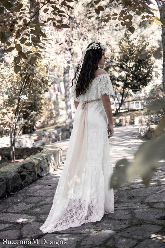 Bohemian Long Bridal Dress Ivory Lace Wedding by SuzannaMDesigns