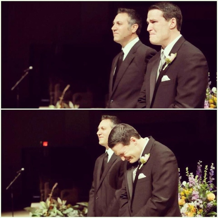 Groom's reaction when bride walked down the aisle. ALLIE MORRIS PHOTOGRAPHY