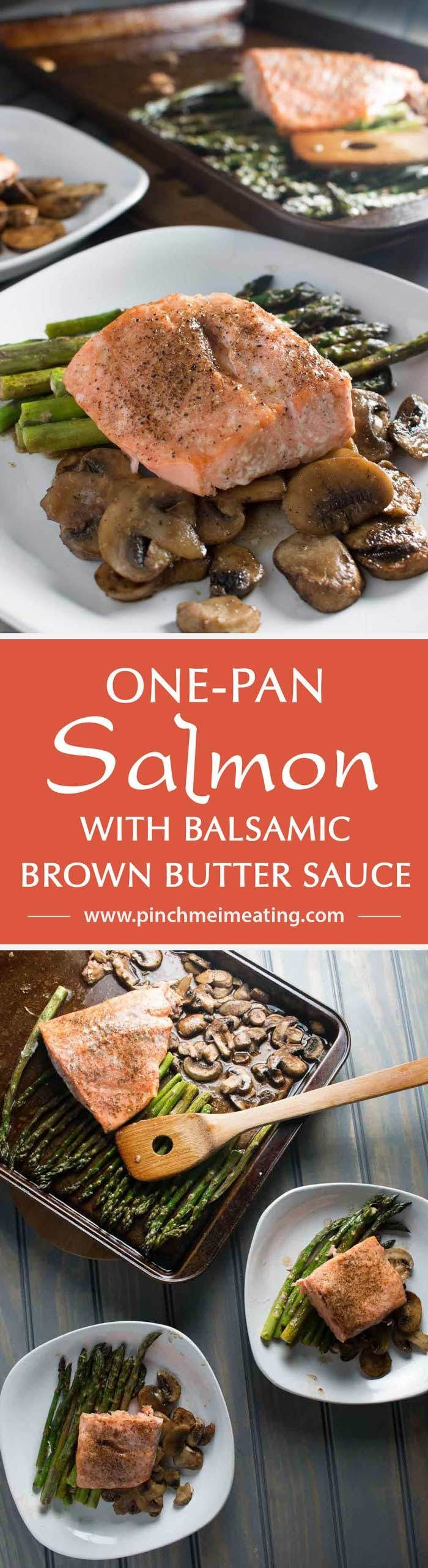 One-pan salmon with asparagus and mushrooms with balsamic brown butter sauce is the easiest, most delicious dinner - and it's ready in only 20 minutes! This is my new favorite meal! | www.pinchmeimeati...