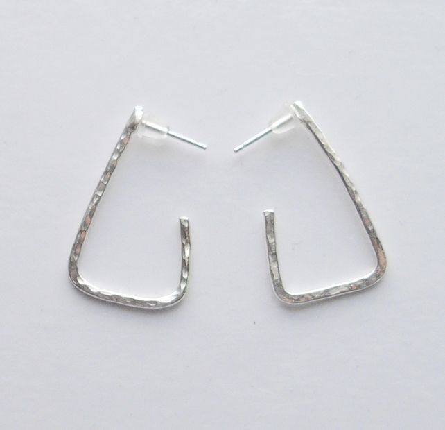 Textured Sterling Silver Triangle Earrings £18.00
