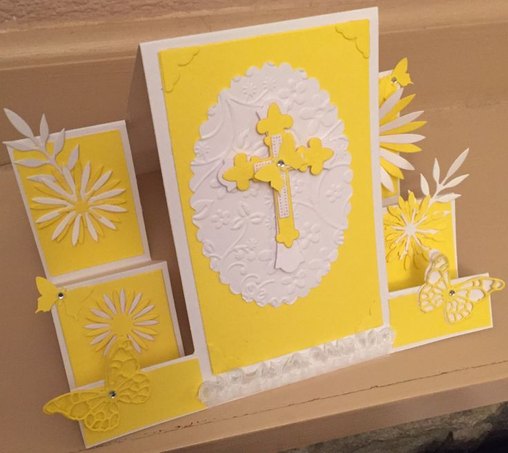 Easter card using embossing folder and die cuts
