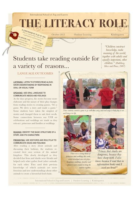 Early Learning at ISZL: Reading Outside, by Bree