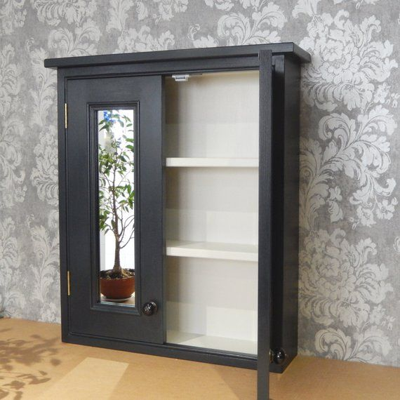 Handmade Black Bathroom Cabinet With 2 Doors And Inset Mirrors Traditional Style Wall Cupboard Bathroom Storage Mirror Organisation Wall Cupboards Black Cabinets Bathroom Bathroom Cabinets
