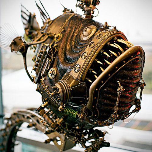 angler fish steampunk art sculpture