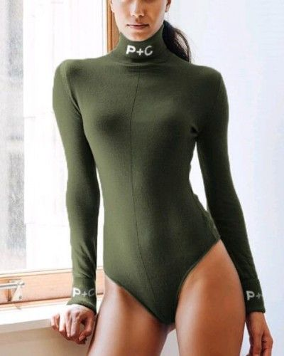 womens olive green turtleneck bodysuit long sleeve letters print ... ea7c5b93bf
