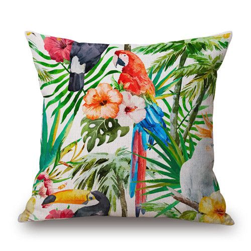 45X45CM Bird Plant Floral Cushion Cover Fashion High Quality Cotton Linen Tropical plant Flowers Grass Decorative Throw Pillow