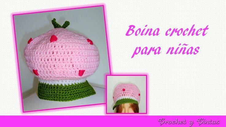 Boina - Gorra Rosita Fresita tejida a crochet para niñas