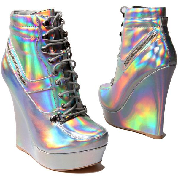Honfleur-18 Hologram Sneaker Wedge and other apparel, accessories and trends. Browse and shop related looks.