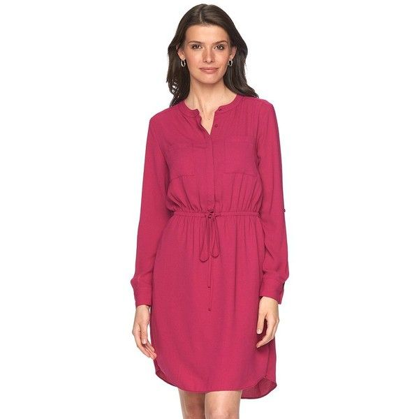 Women's Apt. 9® Crepe Shirt Dress ($20) ❤ liked on Polyvore featuring dresses, dark pink, drawstring shirt dress, going out dresses, day party dresses, drawstring dress and purple party dresses