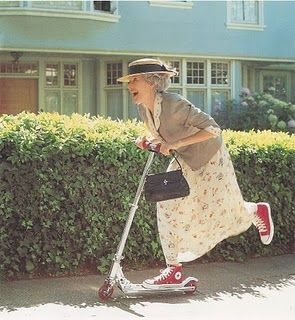 I'm going to be this old lady someday...except the scooter isn't quite my style...but the converse totally are;)