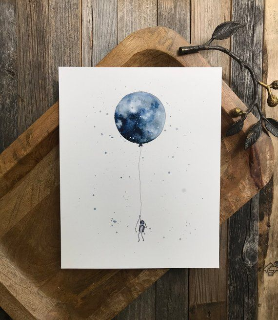 Watercolor Moon Balloon Art Print Nursery Wall Art Watercolor