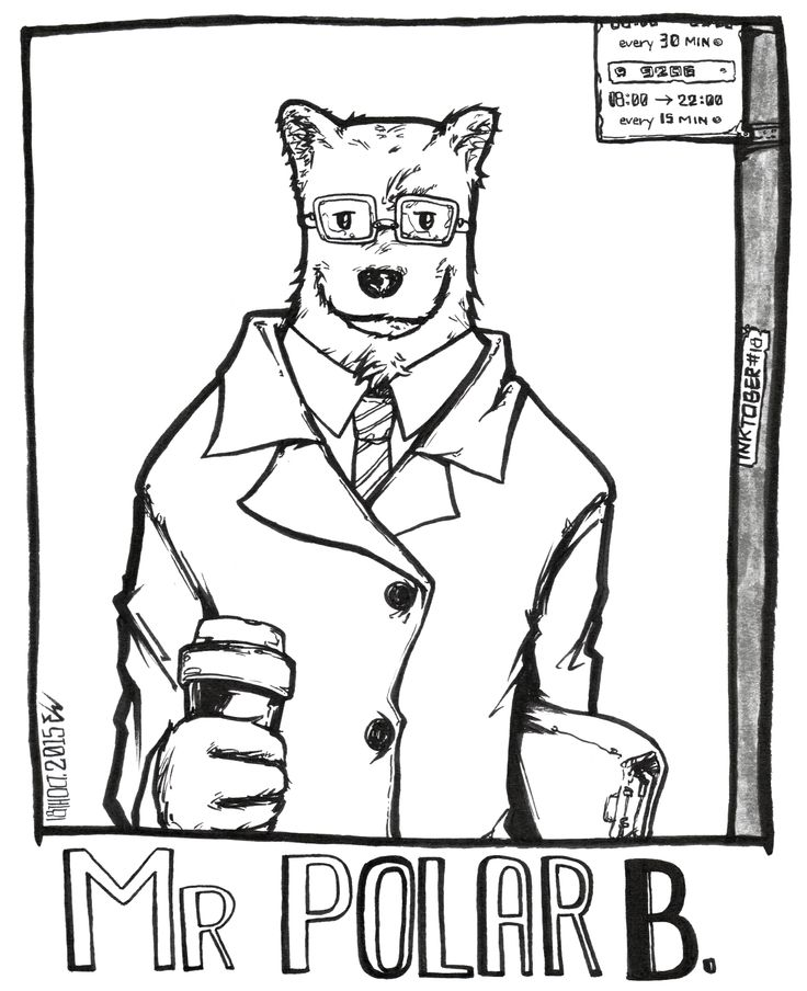 #inktober2015 -18- Meet the awesome mr Polar B.. Who, despite his formal demeanour and wardrobe, is actually a talented programmer.