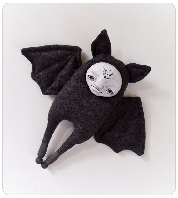 Pretty Bat Art Doll Ready for Halloween by PatineMoucheCousue, $63.00