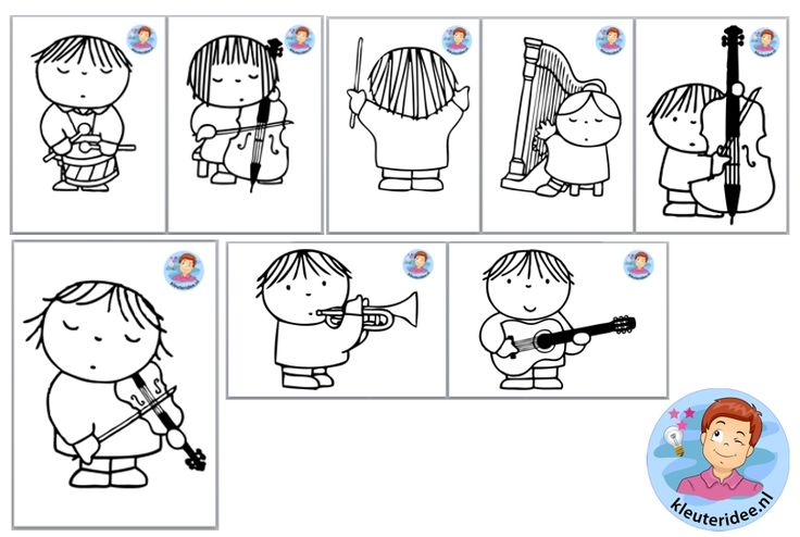 Orkest knutselen met kleuters pdf , thema muziek, free printable, kleuteridee.nl