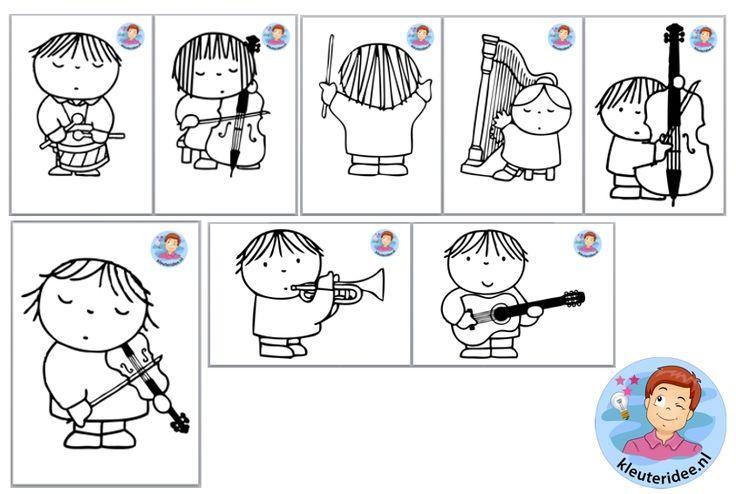 Orkest knutselen met kleuters pdf , thema muziek, kleuteridee.nl