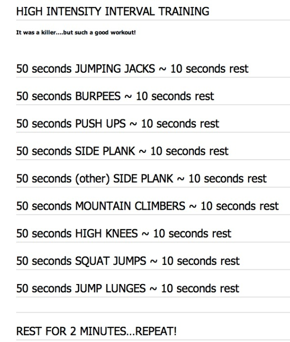 The Daily HIIT (aka Body Rock TV).  Love their workouts - new one posted online daily. This one is great - tough - but great. www.dailyhiit.com/